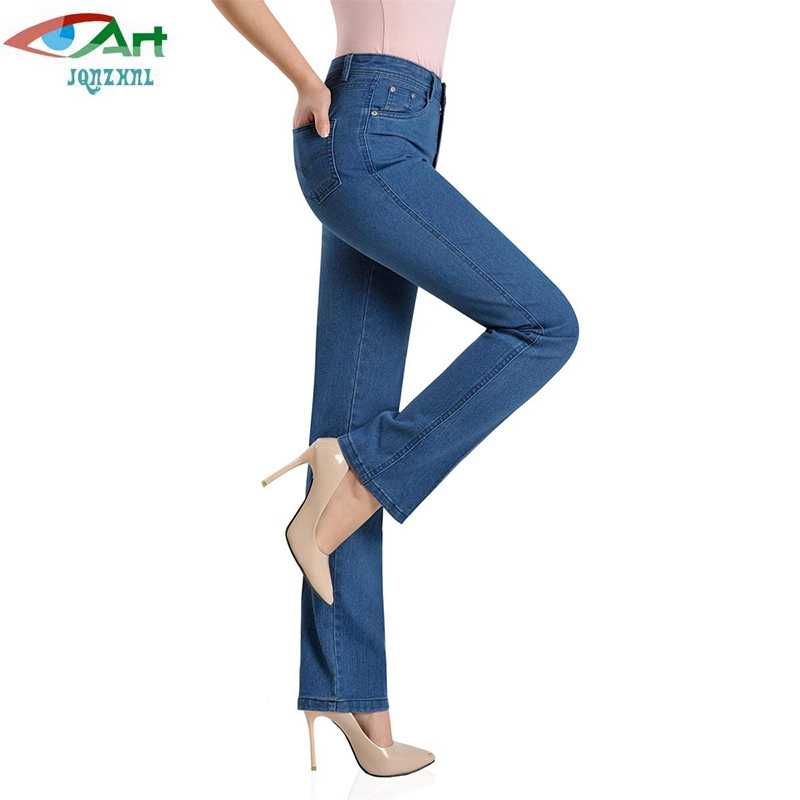 JQNZHNL 2017 New Spring Autumn Cowboy Pants Mid-aged Women Clothing Jeans Fashion Plus Size High Waist Denim Pants Trousers E702 plus size pants the spring new jeans pants suspenders ladies denim trousers elastic braces bib overalls for women dungarees