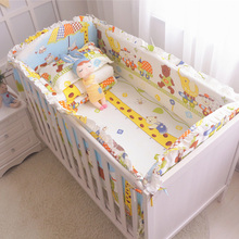 цены 6pcs Newborn cotton baby cribs bumpers bedding Sets Infant Bumper Boy and Girl Unisex Crib Bumpers Safe Pad+Sheet+Pillowcase