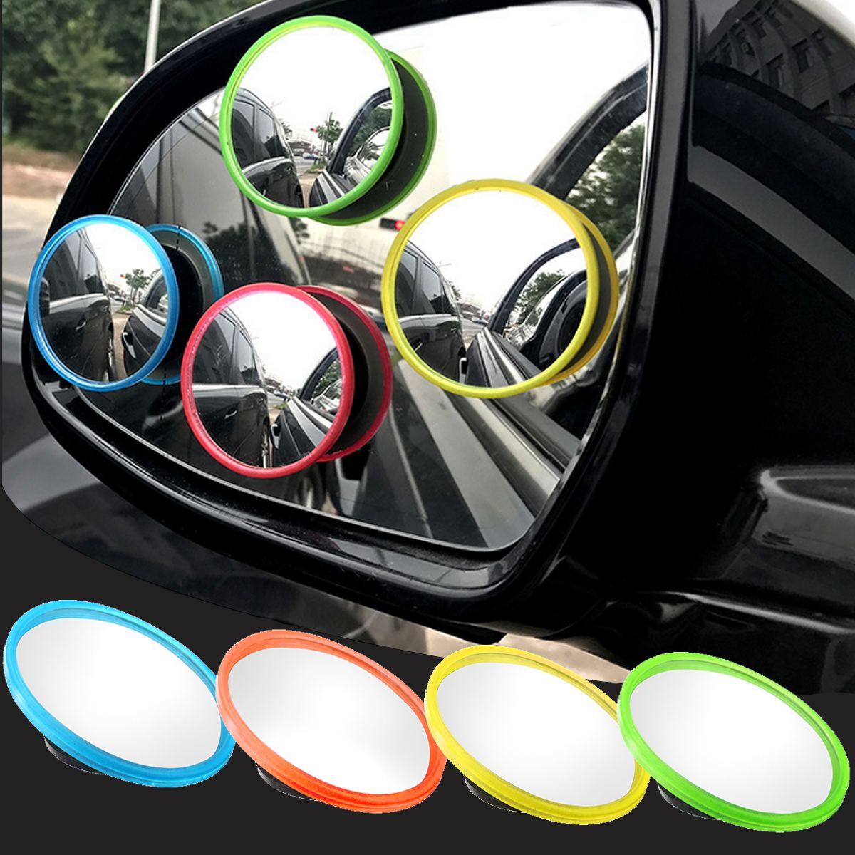 2pcs Car Rearview Blind Spot 360 Degrees Adjustable Rotating Wide Angle Round Convex Mirror