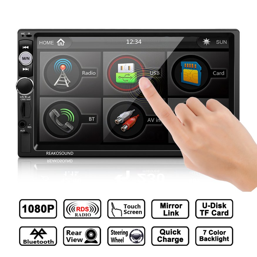 Reakosound Full HD 1080P 7 inch IR Remote Control Touch Screen Bluetooth/FM/TF/USB Car MP5 Player with Rear View Camera new 7 inch 2din bluetooth car radio video mp5 player auto radio fm 18 channel hd 1080p in dash remote control rear view camera