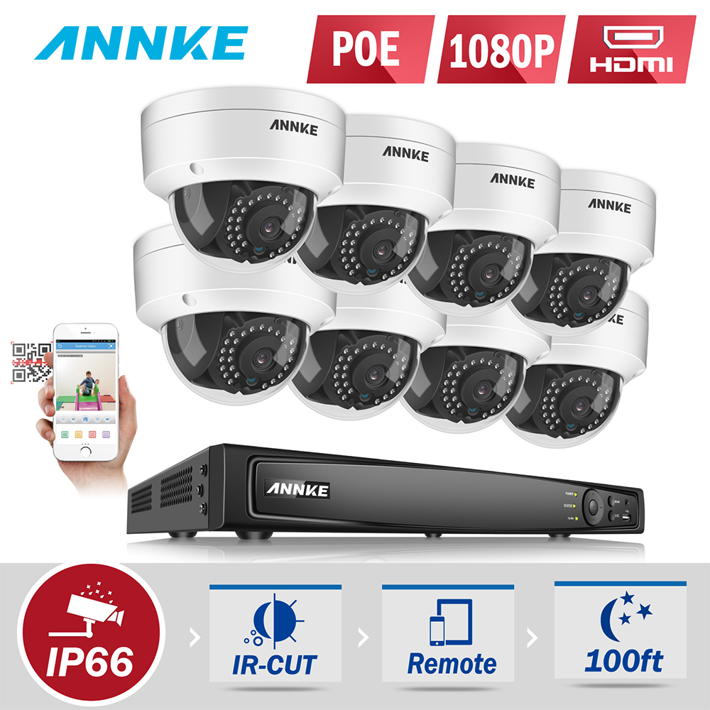 ANNKE 8CH 1080P POE Security Camera System With 6MP 8ch NVR And 8pcs 2 0MP HD