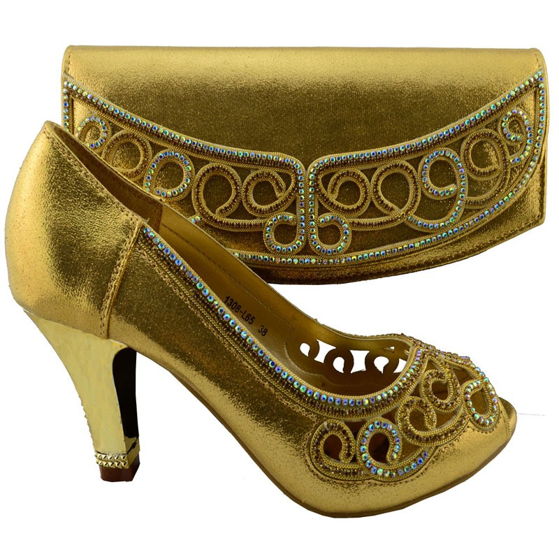 New Italian Fashion Gold Shoes With Matching Bags For Party African And Set Wedding Shoe Bag 1308 L65