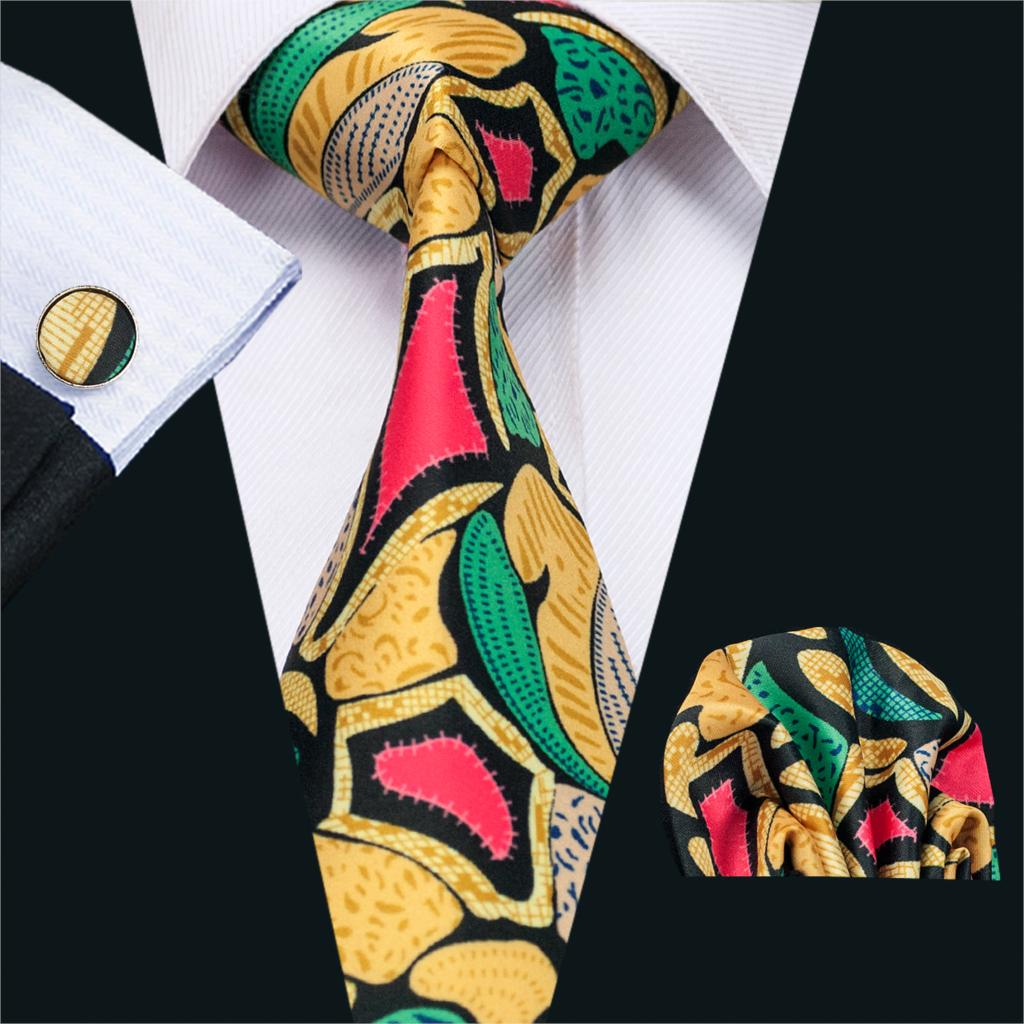 FA-1215 2018 Popular Classical Print Mens Tie High Quality Custom Design Necktie Hanky Cufflink Set For Wedding Party