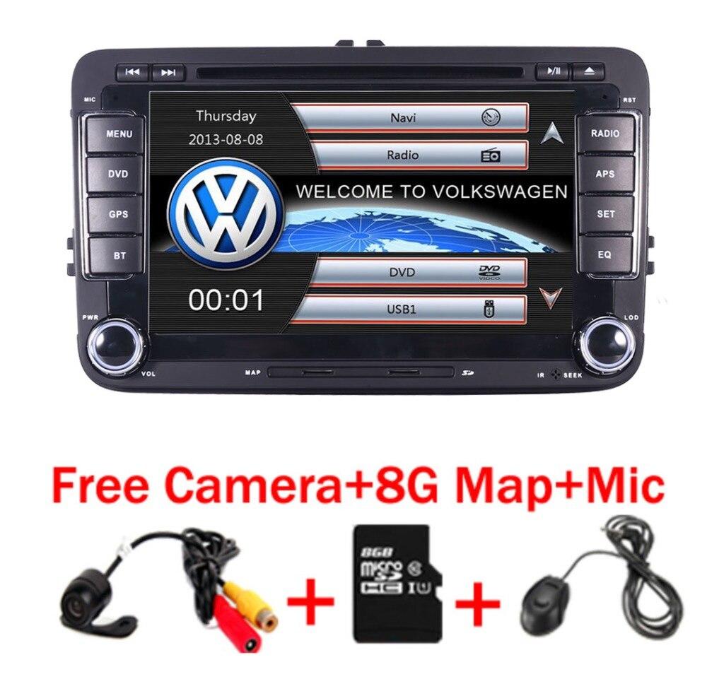 В наличии 7 дюймов Сенсорный экран 2din автомобильный DVD VW Golf Polo Jetta Passat Tiguan с 3g gps Bluetooth Радио USB SD рулевое колесо