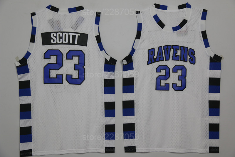 Ediwallen One Tree Hill Ravens 23 Nathan Scott Basketball Jerseys College  Uniforms Blue Black Alternate White Embroidery Quality 791cb23aa
