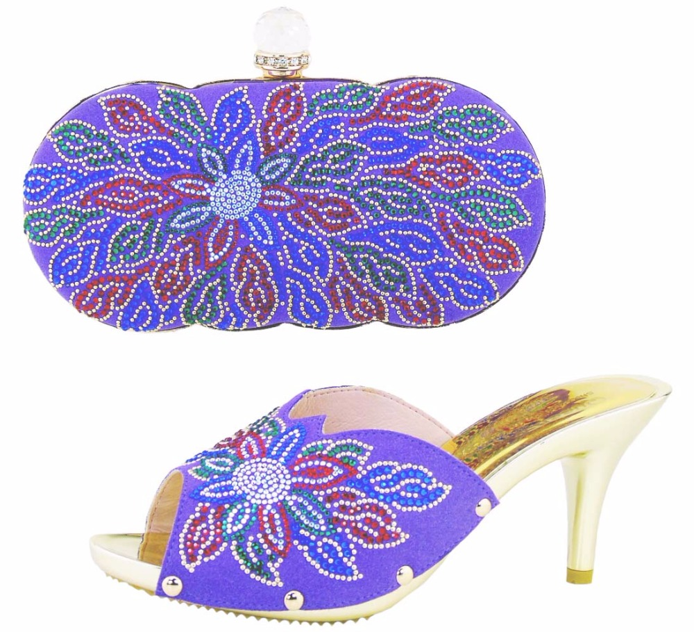 ФОТО Latest Italian Shoe With Matching Bags Set For Wedding Sandal Shoes Women Shoes And Bag To Match For Parties Purple HS002