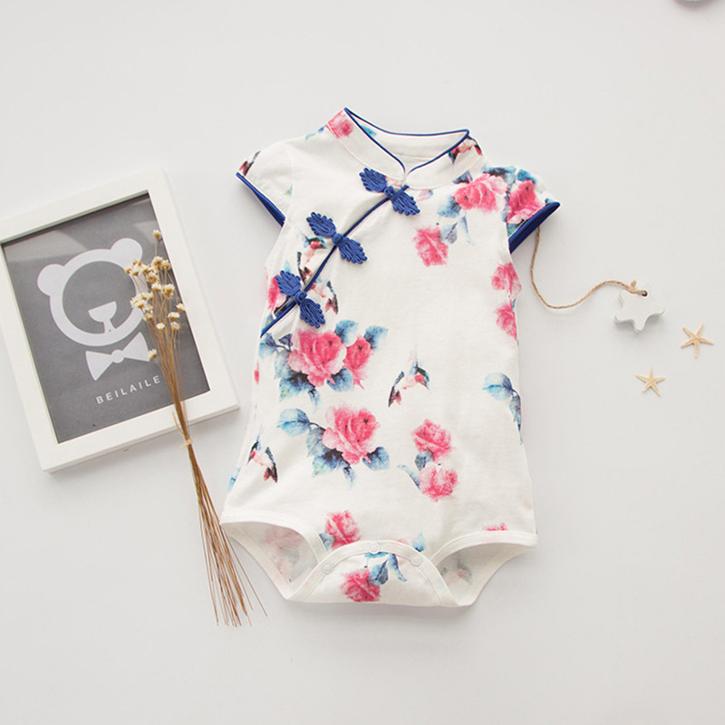 Summer Baby Lovely Girls Clothes Chinese Print Classic Cheongs Short Sleeve Triangle Romper 3-18M Toddler Kids Costume