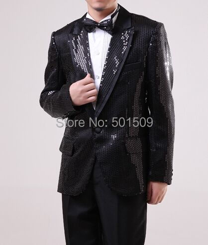 Free shipping black sequins mens tuxedo suit jacket/only jacket