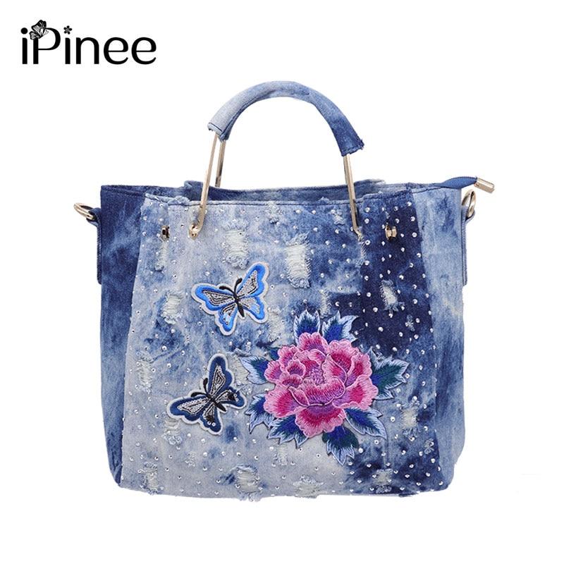 iPinee brand handbag women washed denim shoulder bag female flower embroidery tote bag high quality zipper