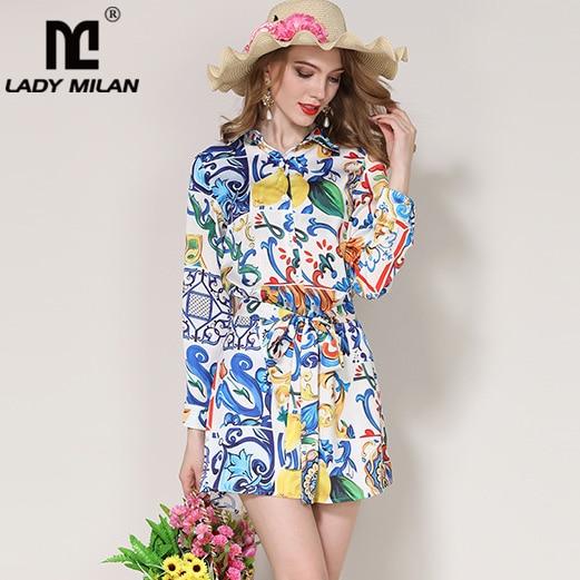 Lady Milan 2018 Womens Turn Down Collar Long Sleeves Floral Printed Sash Belt Fashion Casual Shirt Dresses