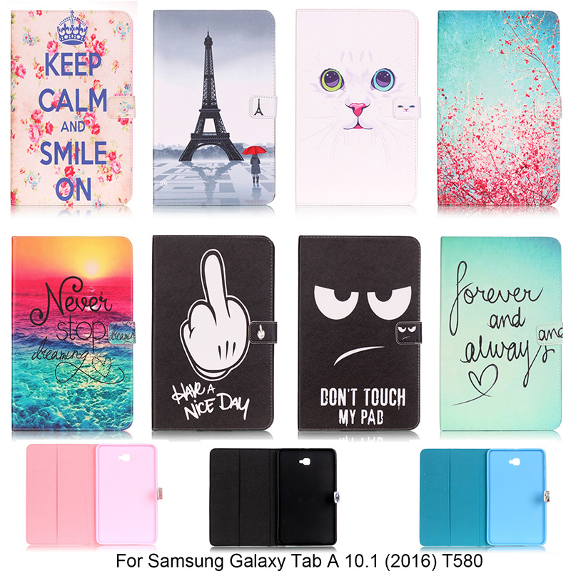New Lovely Pattern Wallet Flip PU Leather cover case for Samsung Galaxy Tab A 10.1 (2016) T580 T585 Tablet Shell Protector  B33 luxury flip stand case for samsung galaxy tab 3 10 1 p5200 p5210 p5220 tablet 10 1 inch pu leather protective cover for tab3