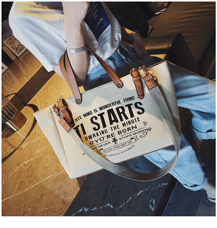Luxury Ladies Bags Canvas Fashion Large Capacity Tote Bags Letter Shoulder Messenger Bags for Women 2018 Casual Tote Luis Vuiton 8