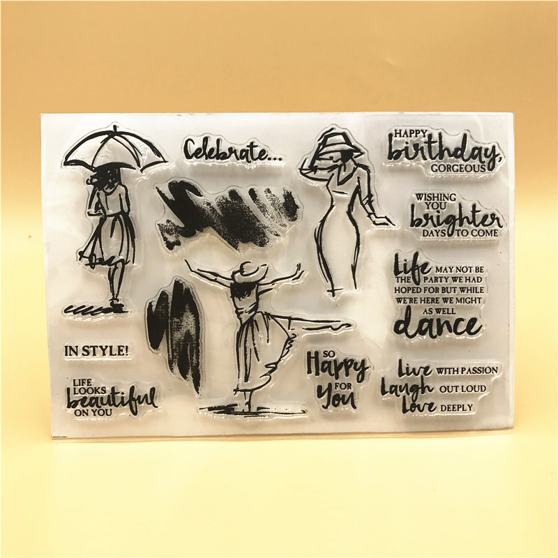 Dancing Girl Clear Silicone Rubber Stamp for DIY Scrapbooking/photo Album Decorative Craft Clear Stamp A505 lovely animals and ballon design transparent clear silicone stamp for diy scrapbooking photo album clear stamp cl 278