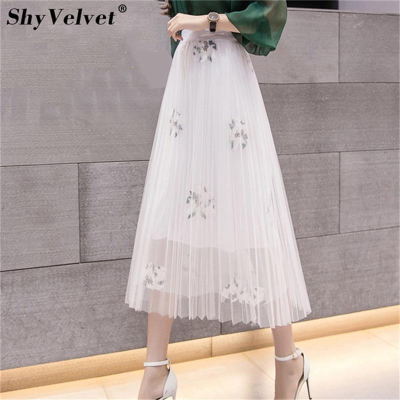 Pleated Mesh Skirt Elastic High Waist Tulle Skirts Womens Long Tutu Skirt Female Floral Embroidery Jupe Longue Pink White Black
