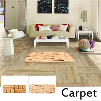 Hall Runner Rug Wood Grain Bamboo Hallway Bedroom Soft Flannel Carpet Mats Warm Plush Floor Rugs