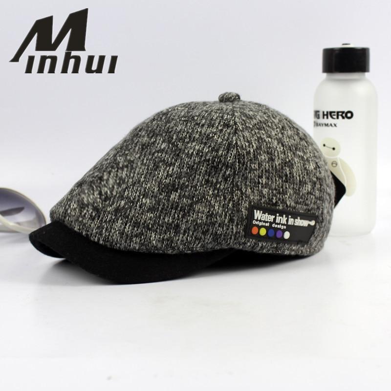 Minhui 2016 New Vintage Beret klobouky pro muže Zimní čepice Casquette Visor Pletené čepice Boinas Bere Gorras Planas Čepice