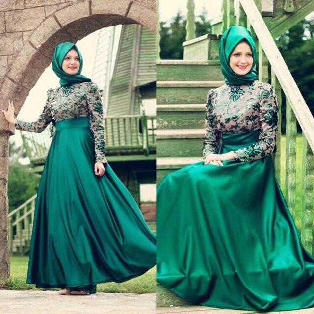 Verde musulmani abiti da sera manica lunga modest appliques donne di  fidanzamento vestito da partito elegante 998d54379af
