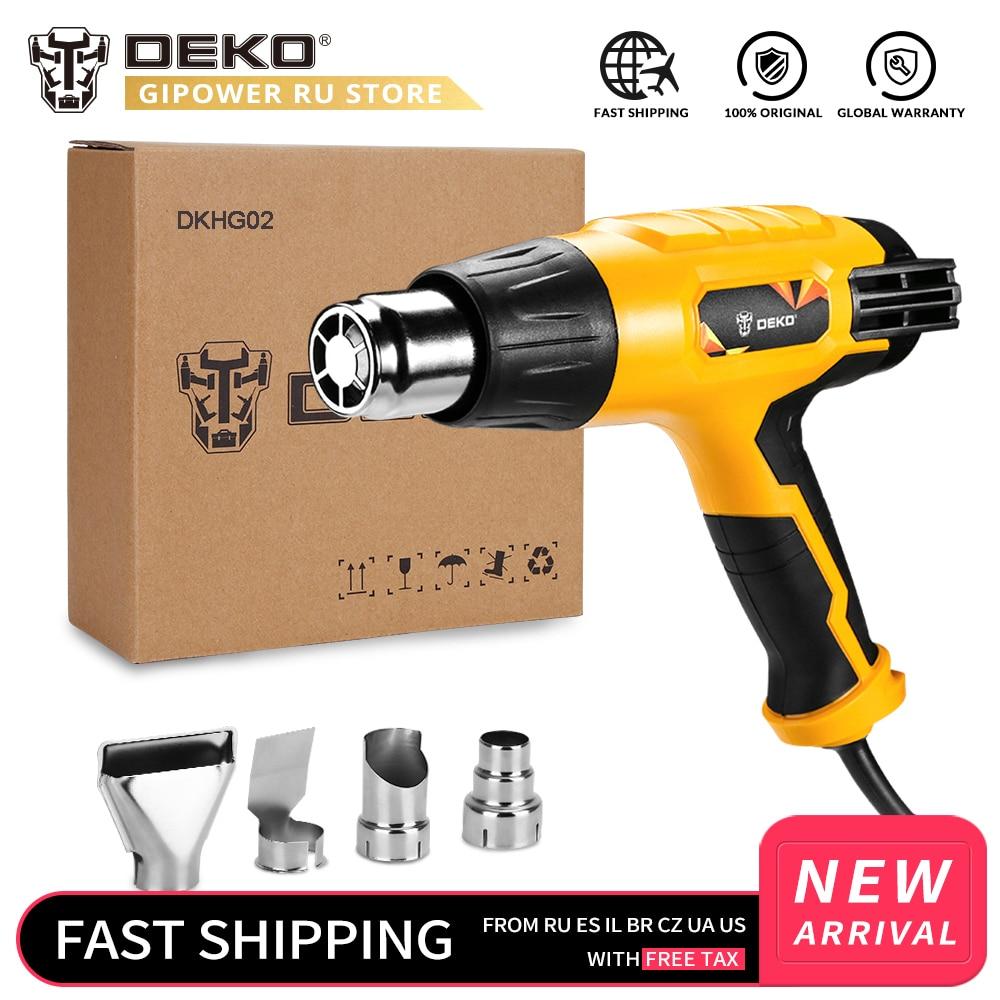 DEKO DKHG02 220V Heat Gun 2000W Home DIY 3 Adjustable Temperature Advanced Electric Hot Air Gun with 4 Nozzle Power Tool pneumatic tool