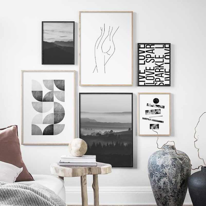 Mountain Landscape Abstract Girl Line Wall Art Canvas Painting Nordic Posters And Prints Wall Pictures For Living Room Decor