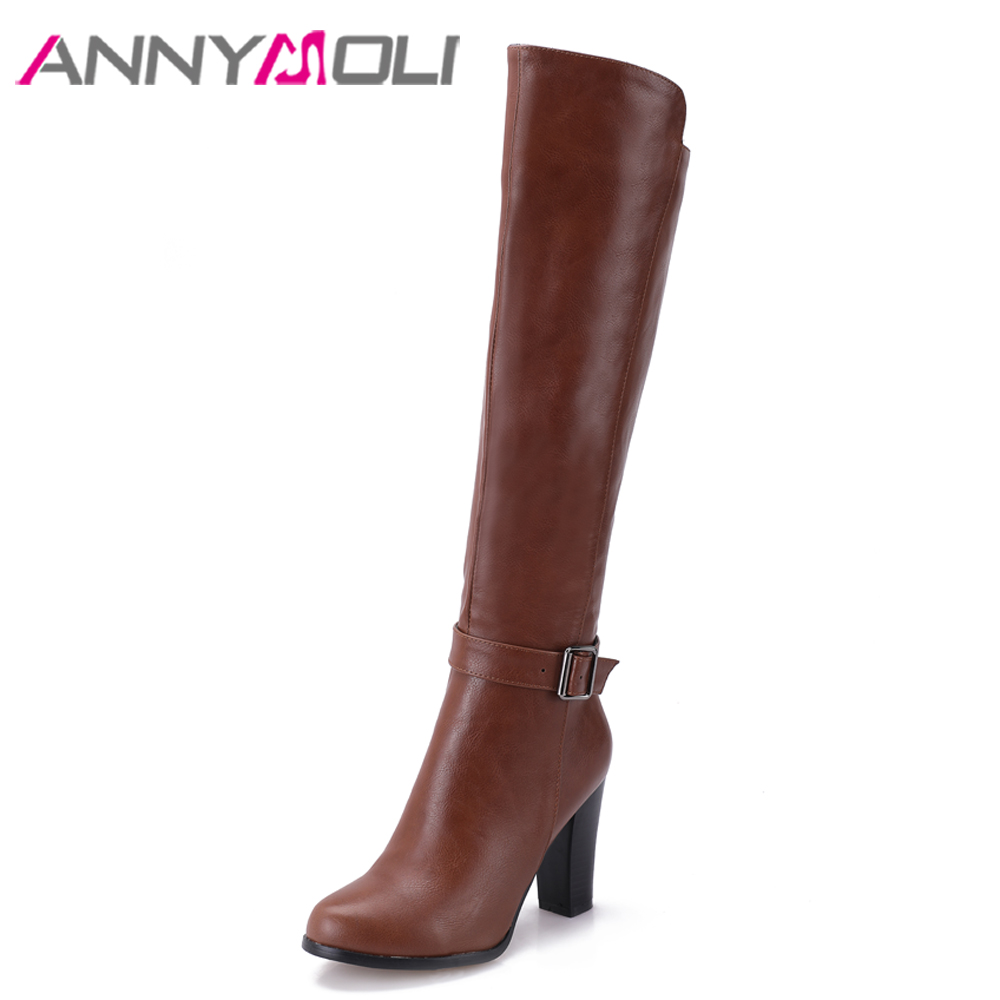 ANNYMOLI Winter Knee High Boots Shoes Riding Boots for Women Buckle Thick High Heel Tall Boots with Zipper Female Footwear Black esveva winter zipper pu platform shoes women thick high heel knee high boots buckle lady black riding boots big size 34 43 page 4