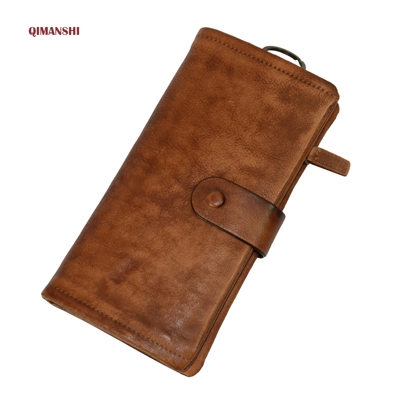 QIMANSHI Brand Genuine Leather Wallet Fashion Long Clutch Business Men 's Purse Brown Color Hardness Soft Card Holder For male