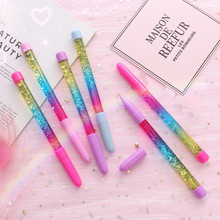 Cute 0.5mm Fairy Stick Ballpoint Pen Drift Sand Glitter Crystal Rainbow Color Creative Ball Kids Gift Novelty Stationery