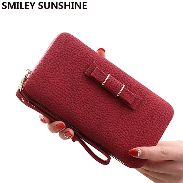 2cbfa76c7 Cuero del mitón mujeres Carteras rojo moda femenina larga cartera mujeres  Big monedero Niñas rojo titulares