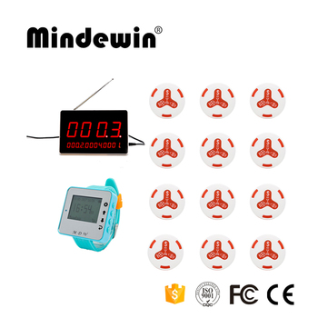 Mindewin Wireless Call Bell System 12pcs Waiter Calling Service Button +1pc Wrist Watch Pager+1pc Display Receiver For C