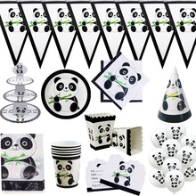 Cartoon Panda Theme Birthday Party Decorations Kids Favors Disposable Tableware Set Napkins Cup Plate Paper Straw Supplies