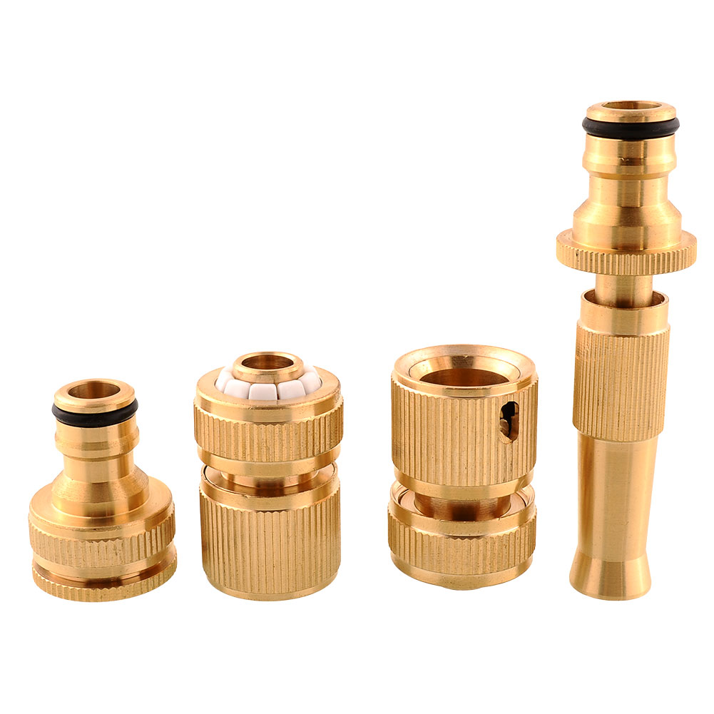4Pcs Brass Threaded Faucet Hose Water Pipe Tube Tap Connectors Spray Nozzle Snap Adaptor Fitting Spray 125ft 7 modes expandable garden water hose pipe with spray gun