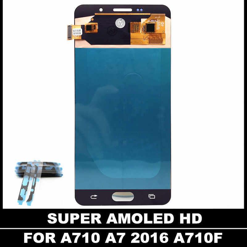 قطعة بديلة لمستشعر شاشات LCD لسامسونج غالاكسي A7 2016 عرض A710 A710F A710M AMOLED شاشة الكريستال السائل مجموعة المحولات الرقمية لشاشة تعمل بلمس