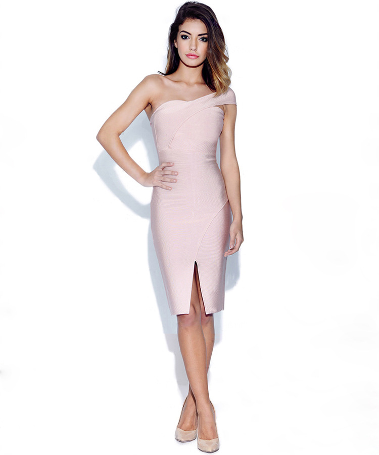 Top qualité robe Bandage rose une épaule robe sans bretelles femmes Vintage