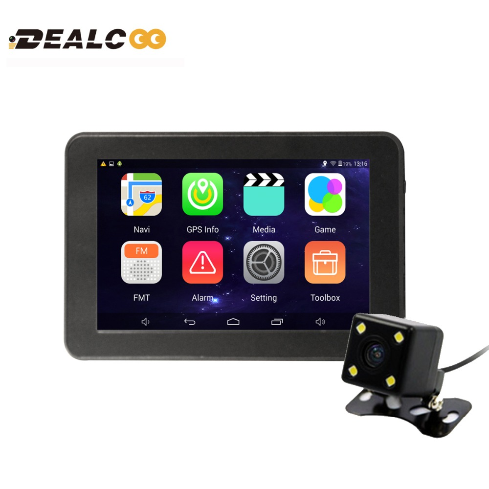 Dealcoo 7 Car GPS Navigation Android navigator Rear view camera WIFI/AVIN truck vehicle gps sat nav 16G Navitel/Europe Maps topsource 7 spian android car gps navigation europe usa uk truck gps navigator wifi 512m 16gb russian gps map for navitel