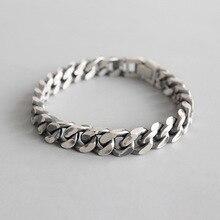 HFYK 925 Sterling Silver Bracelet 2019 Vintage Thick Chain Bracelets For Women Men Bangles bracelet femme pulseras mujer