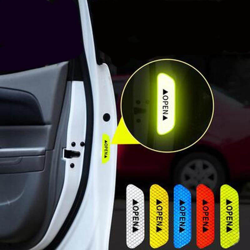 4Pcs/Set Car OPEN Reflective Tape Warning Mark Reflective Open Notice Bicycle Accessories Exterior Car Door Stickers DIY