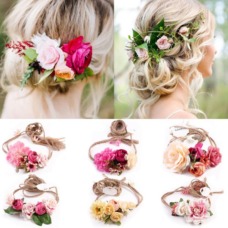 Women Girl Boho Flower Floral Hairband Headband Wreath Party Bride