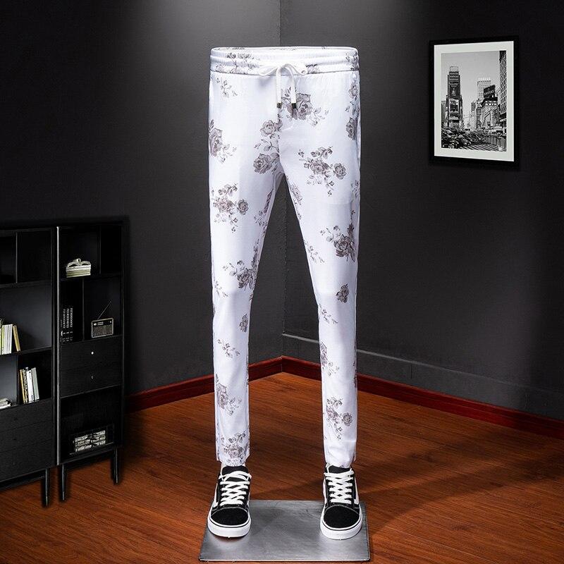 Высококачественные спортивные штаны белые мужские спортивные штаны с цветочным принтом уличная Удобная крутая мужские зауженные брюки по