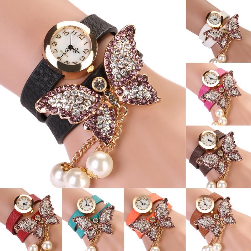 Women Watches Fashion Casual Bracelet Watch Women Relogio Leather Butterfly Analog Quartz Watch Clock Female Montre Femme