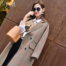 Autumn Winter Trench Plaid Coat for Women Vintage Office Lady X Long Jacket Woolen Coats 2018 Oversize Outwear
