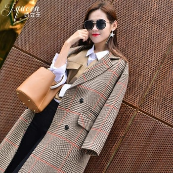 Autumn Winter Trench Plaid Coat for Women Vintage Office Lady X Long Jacket Woolen Women Plaid Coats 2018 Oversize Outwear