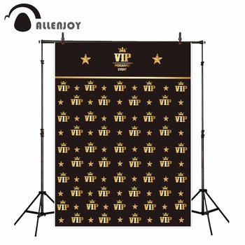 Allenjoy photocall photography golden Oscar VIP crown star Signature wall Custom backdrop for photo background cloths photobooth image