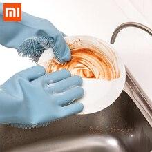 Xiaomi jj magia silicone luvas de limpeza isolamento antiderrapante lavagem de louça luva dupla face usar luvas para cozinha em casa