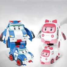 2018 Robocar Korea Robot Kids Toys Automatic deformation Anime Action Figure Elastic car Poli Toys For Children