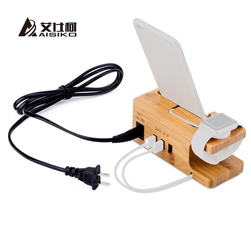 imágenes para 15 w 3a cargador de $ number puertos usb con apple watch & teléfono organizador soporte, sostenedor de la horquilla, estación de carga de escritorio de madera de bambú para iwatch