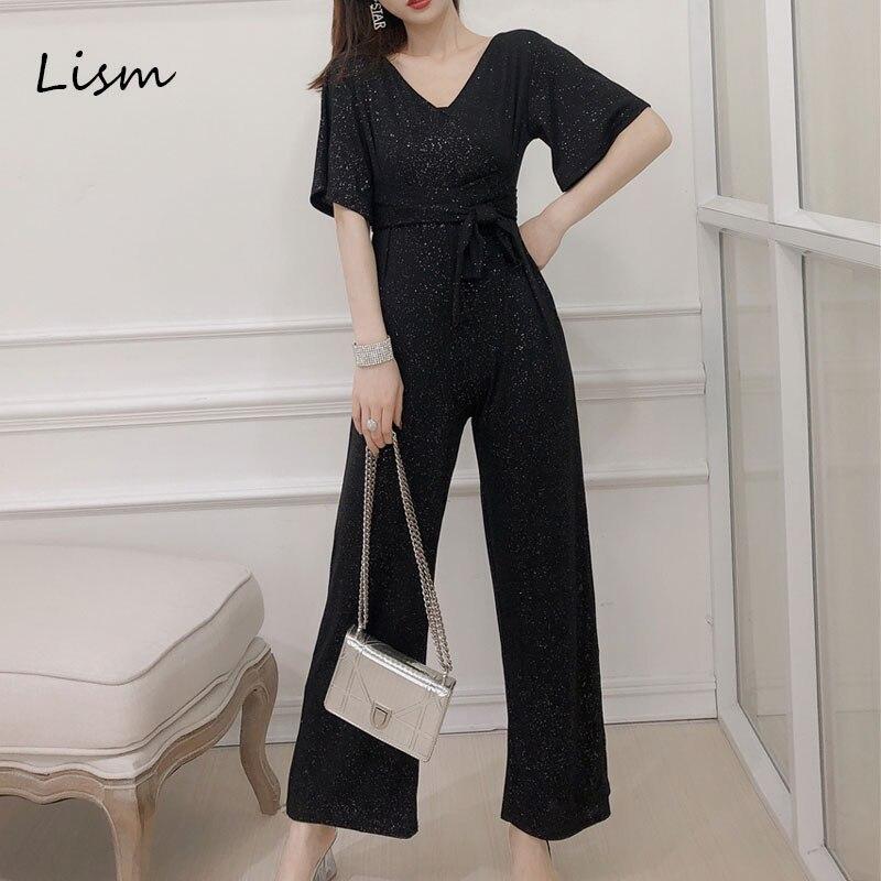 LISM Elegant Short Sleeve Lace Up Ladies Jumpsuits 2019 High Waist Slim Summer Loose Korean Romper Wide Leg Sequin Jumpsuit 1