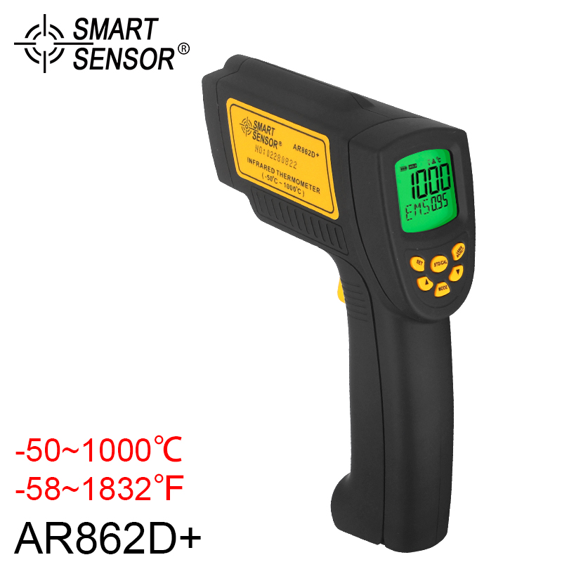 New Laser Infrared Thermometer SMART SENSOR Digital Infrared Temperature Sensor Non Contact Pyrometer -50 1000C temperature instruments double laser fouse industrial usage and infrared thermometer theory optical pyrometer