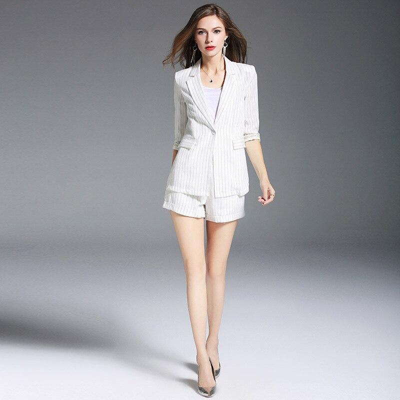 Femmes Deux White Dames Pièces Rayé Pochette Veste Ensemble 2019 Tenues Bureau Coton Short Jolie Travail D'été Costumes Toile Blazer De Blanc 6wxZRAqZT