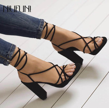 New Ladies Sandals Women's Shoes Hollow Ankle Strap High Heels Sandals Thick With Sexy Cross Straps Wear Solid Color Shoes Women цена 2017