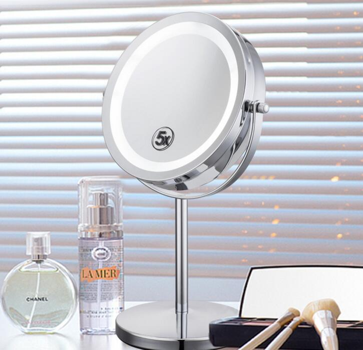 7inch 2-Face metal 360 degree Rotating Cosmetic Bathroom Desktop makeup led Mirror , 5X Magnifier Mirror 8 inch fashion high definition desktop makeup mirror 2 face metal bathroom mirror magnifying 360 degree rotating mirror