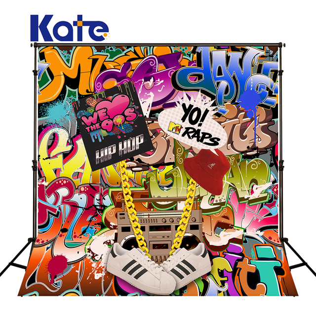 KATE Photography Background 5x7ft Graffiti Backdrop Kids Party Backdrops 90s Hip Hop Wall Art For